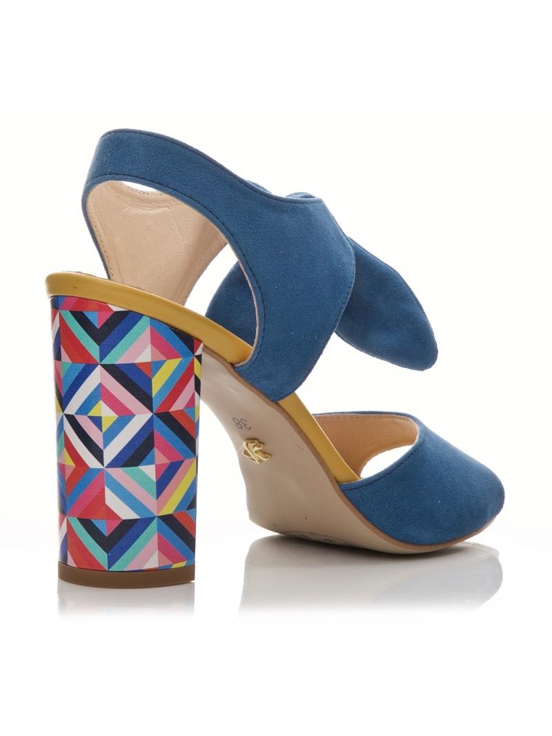 Niebieskie sandały SABATINA z kolorowym obcasem Buty