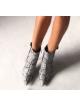 PIĘKNE POLSKIE BOTKI NA SZPILCE Calzado Queen WŁOSKA SKÓRA SZPIC WZÓR SKÓRY WĘŻA CZARNE