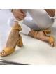 POLSKIE SANDAŁY Calzado Queen SKÓRA NA NIŻSZYM SŁUPKU ŻÓŁTE
