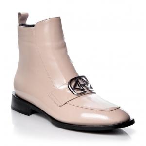 Italian Fashion BOCCATO BOTKI  EMBLEMAT  SKÓRA LICOWA 526.4015 BEŻ NOWOŚĆ2021 LOVE