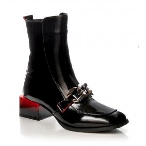 Italian Fashion BOCCATO BOTKI ŁAŃCUCH SKÓRA LAKIEROWANA 286.310 CZARNE NOWOŚĆ2021 LOVE